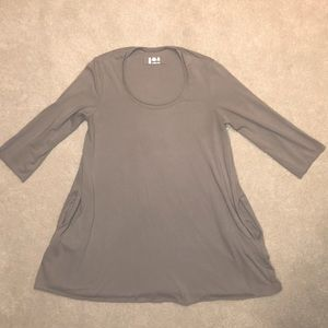 LABO.ART Taupe Stretch Jersey Tunic with Pockets
